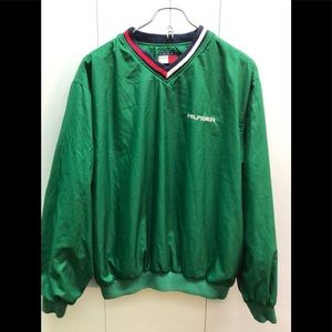 Tommy Hilfiger green v-neck sweater size small